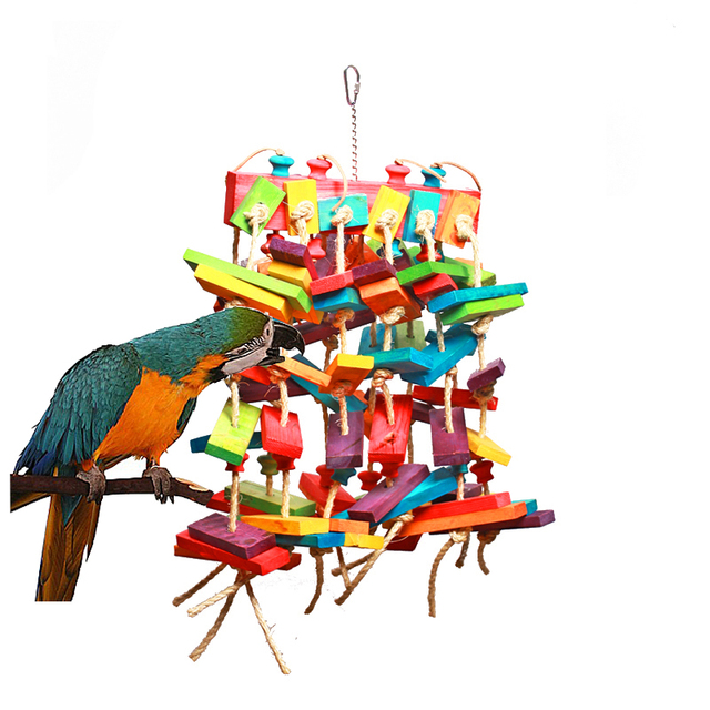 Us 129 0 Wood Bird Toys Colorful Bird Toy For Small To Big Parrots Or Other Pet Length 66cm Parrots Toys Bird Cage Parts In Bird Toys From Home