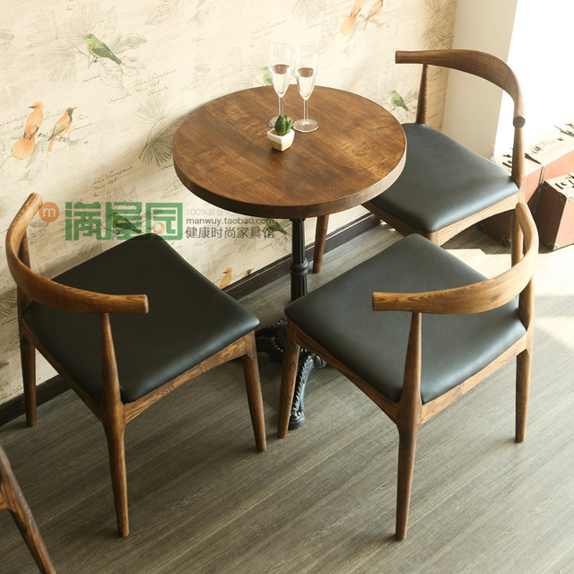 Retro Cafe Table And Chairs Swivel Chair Slipcover Tables Do The Old American Country Ash Solid Wood Horn Meal Restaurant