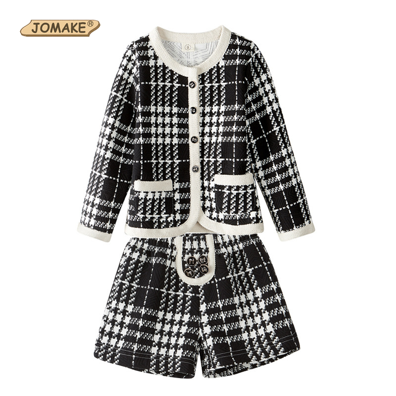 JOMAKE Girls Clothing Sets Autumn Classic Plaid O-Neck Single-breasted Jackets+Shorts 2PCS Girl Suit Princess Costume for Kids