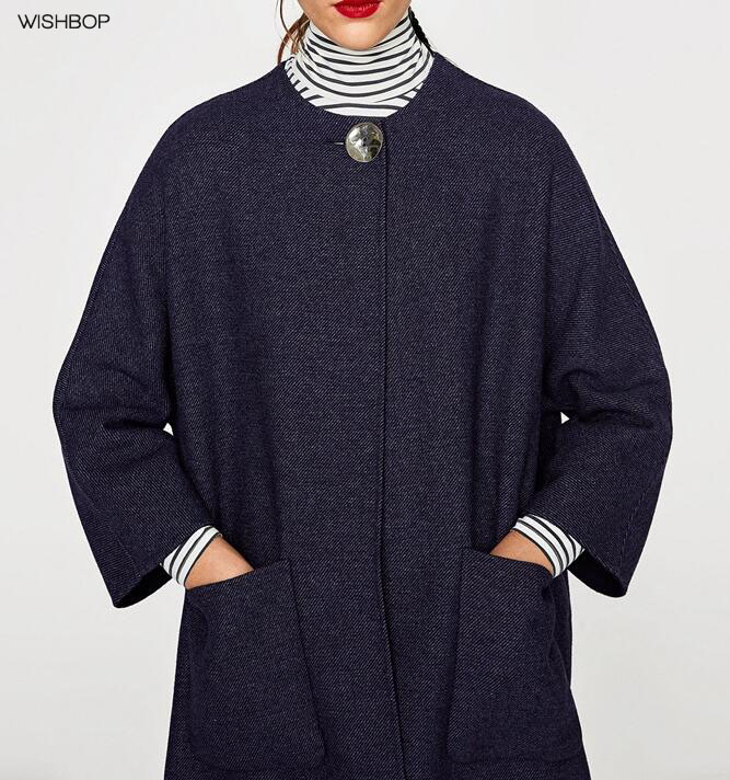 WISHBOP 2017 Fashion Woman NAVY Blue SHORT Handmade WOOL Cape COAT Round neck with Single Button Front Patch pockets Hem slit