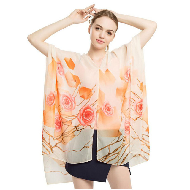 d49464f86c6 Women beach dress sexy wear sarong bikini cover-ups wrap pareo skirts towel  swimwear 90x145CM beach wrap floral chiffon shawl