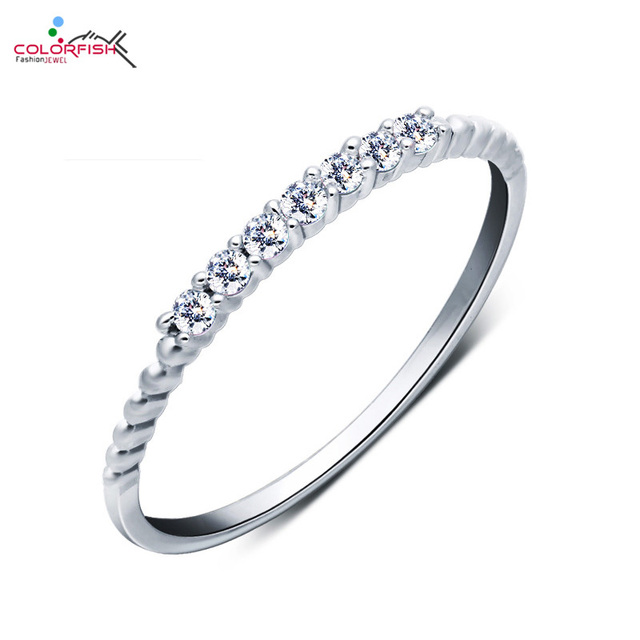 COLORFISH Elegant 2mm Cubic Zirconia Ring For Women Midi 7 Stone Finger Ring  Female Stackable Tail Ring Sterling Silver Jewelry 6b1d12ad80