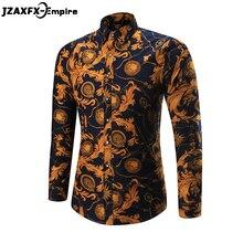 2018 New Print Phoenix Flower Shirt Men Casual Long Sleeve Slim Shirt Brand-Clothing camisa masculina Male Party Shirts casual flower print long sleeve shirt
