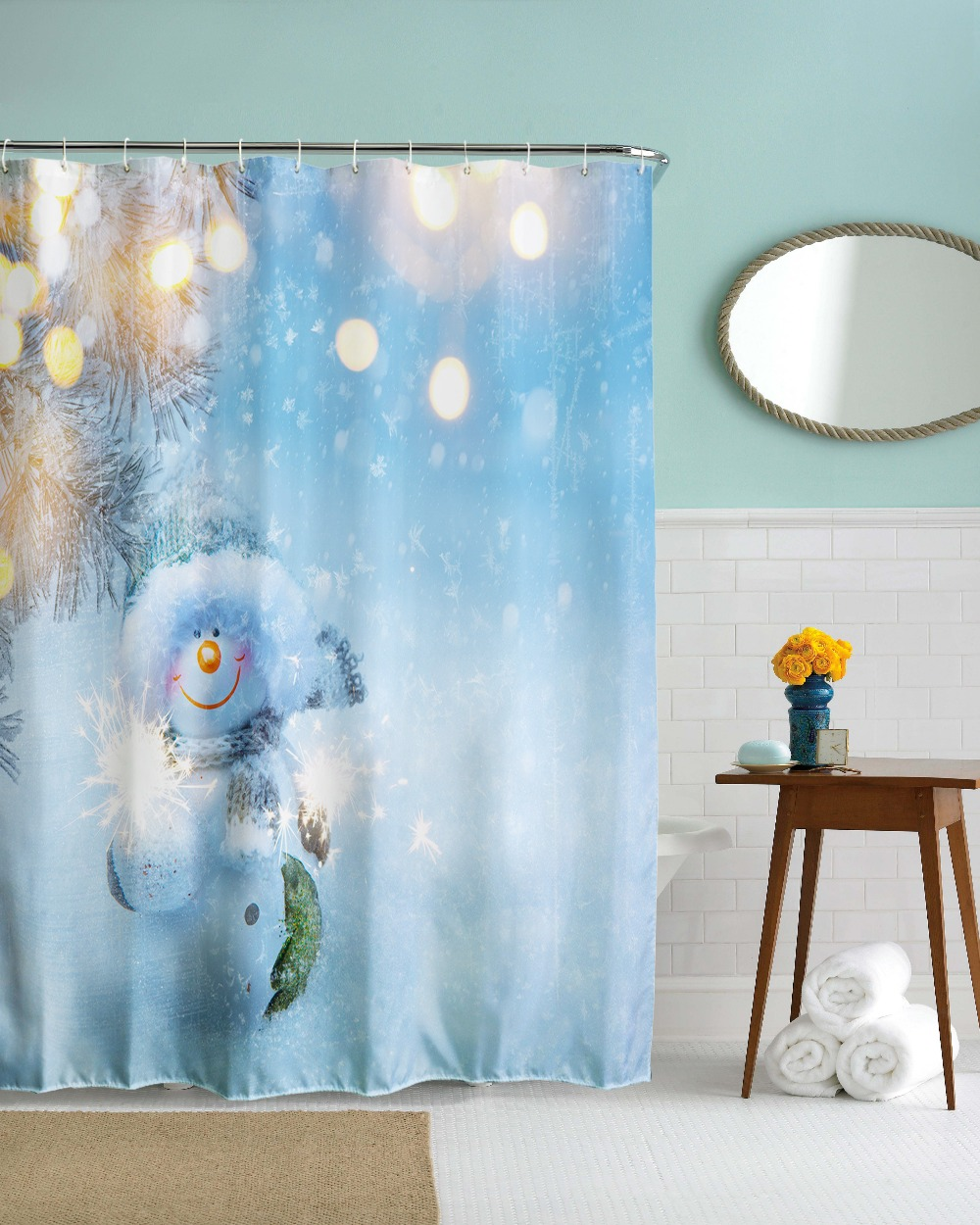 2017 New Year Christmas Waterproof Bathroom Shower Curtain Polyester ...