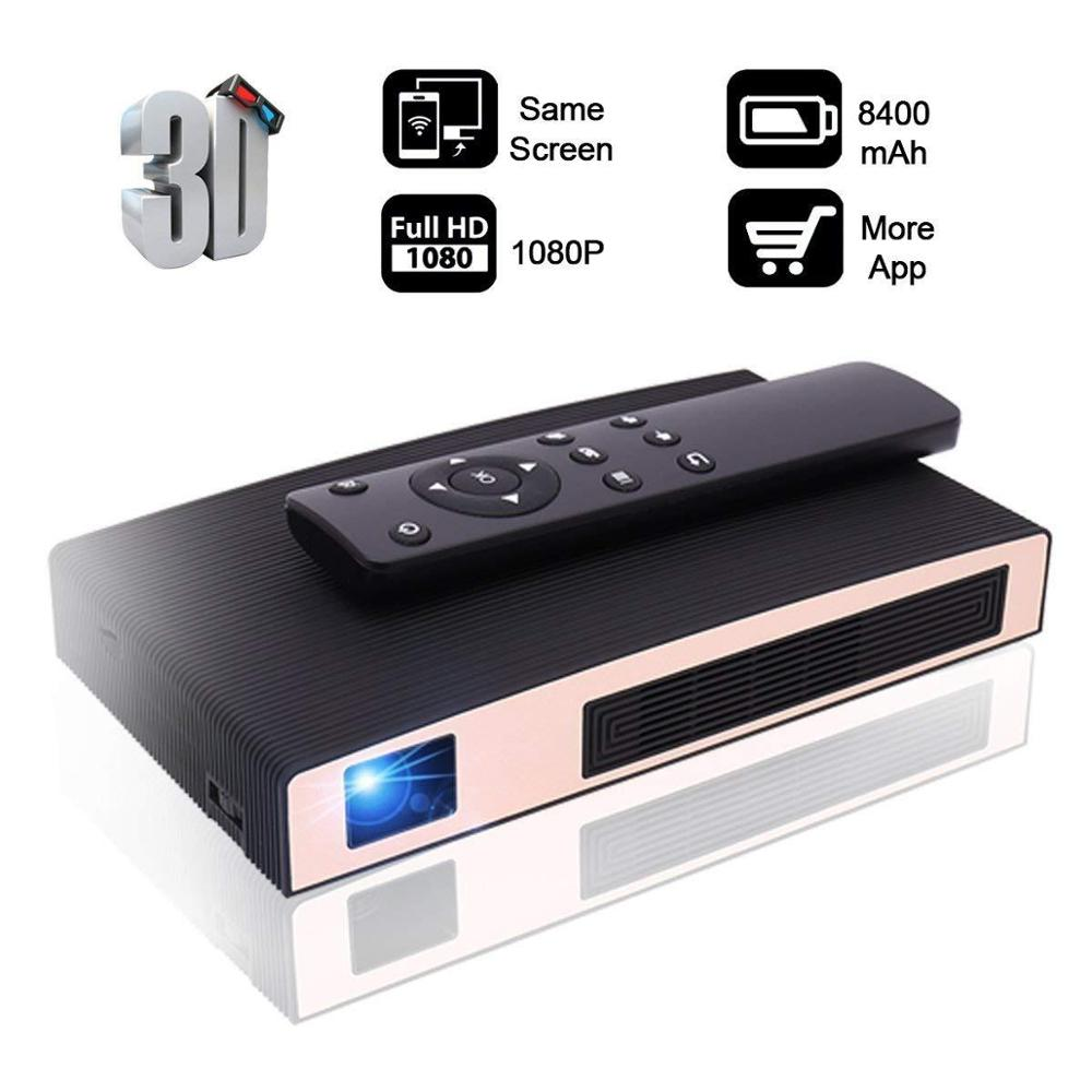 Salange Mini Projector Pocket Portable Beamer Battery-Support 3D with 8400 Mah 2-Hours