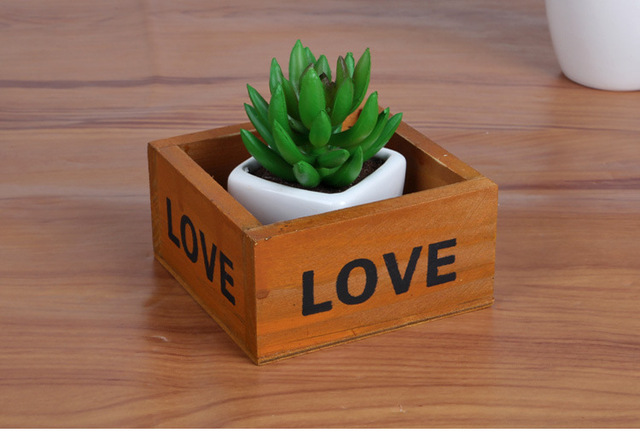 1pc Hot Z Mini Square Wooden Storage Box Vintage Handmade Shavings Fleshy Flowerpot 10x9 5x5cm J0930