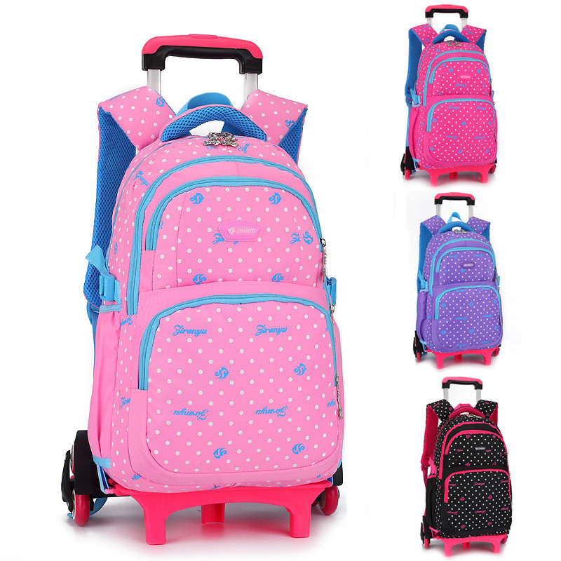 Children s Travel Luggage Backpack on wheels Girls Boy s trolley Backpack with wheel for shcool