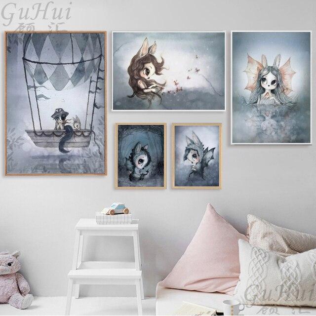 בלון סקנדינבי בוי ובנות הקריקטורה ארנב מלאך בד לילדים בייבי משתלת חדר ציורי קיר פוסטר אמנות ציור קישוט