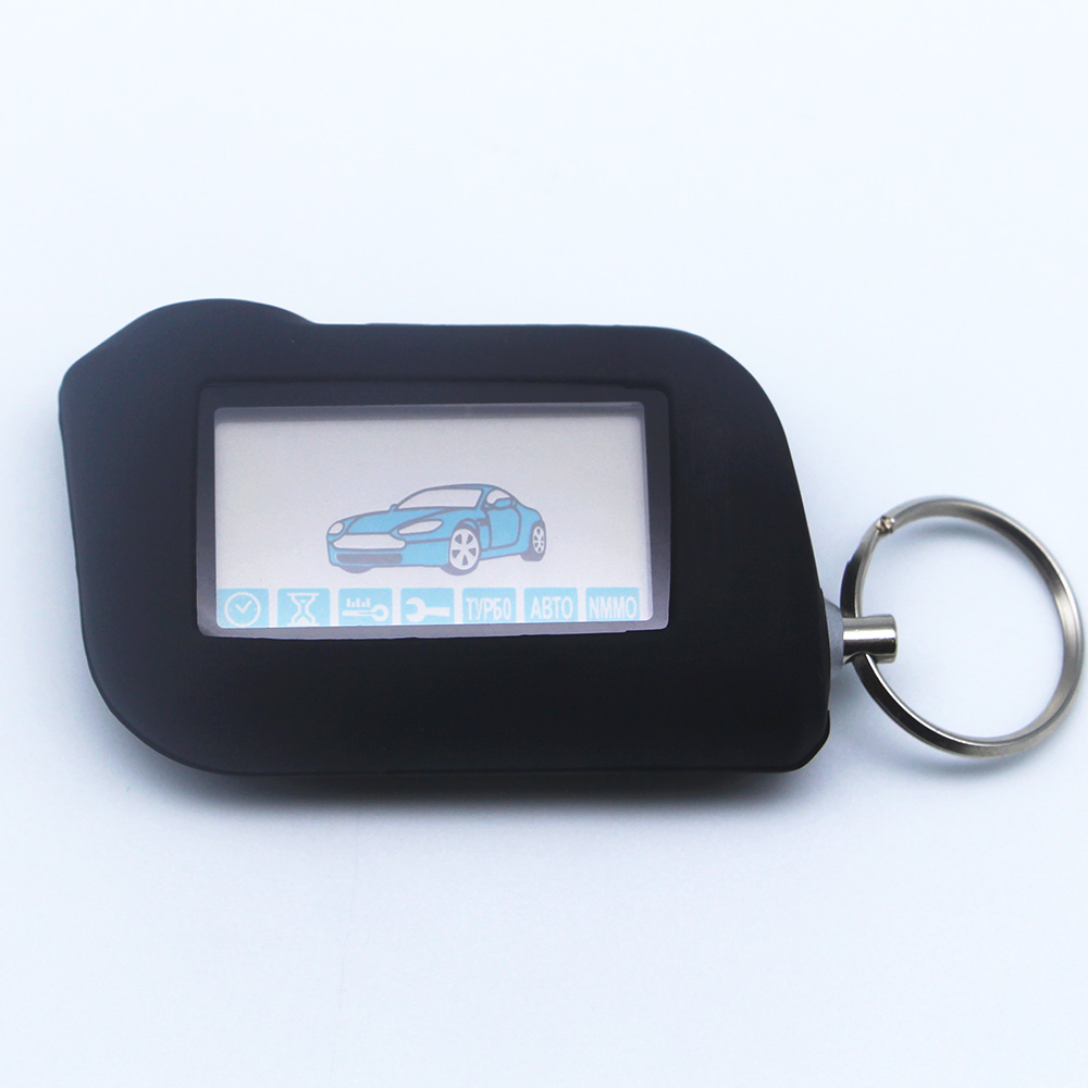 Russian Version Keychain Starline A93 Remote Controller+Silicone Case For Two Way Car Alarm Starline A93 Twage Keychain alarm  b9 case keychain housing body with logo for 2 way lcd remote control key fob chain twage starline b9 b6 a91 a61