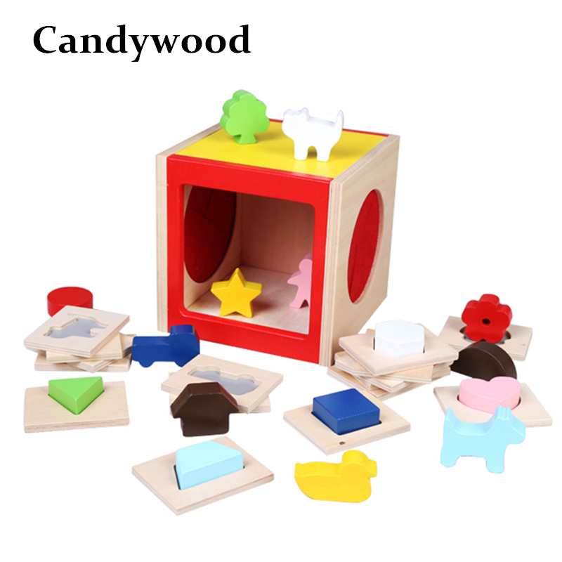 Candywood Intelligence Box for Shape Sorter Cognitive and Matching Wooden Building Blocks Montessori Eductional Toy for Children heart shape ru bun lock children puzzle toy building blocks