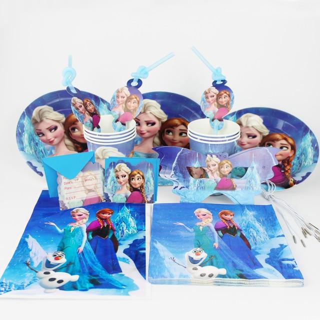 Frozen 92pcs Freezing Anna Elsa Snow Queen Movie Baby Birthday Party Decorations Kids Evnent Supplies