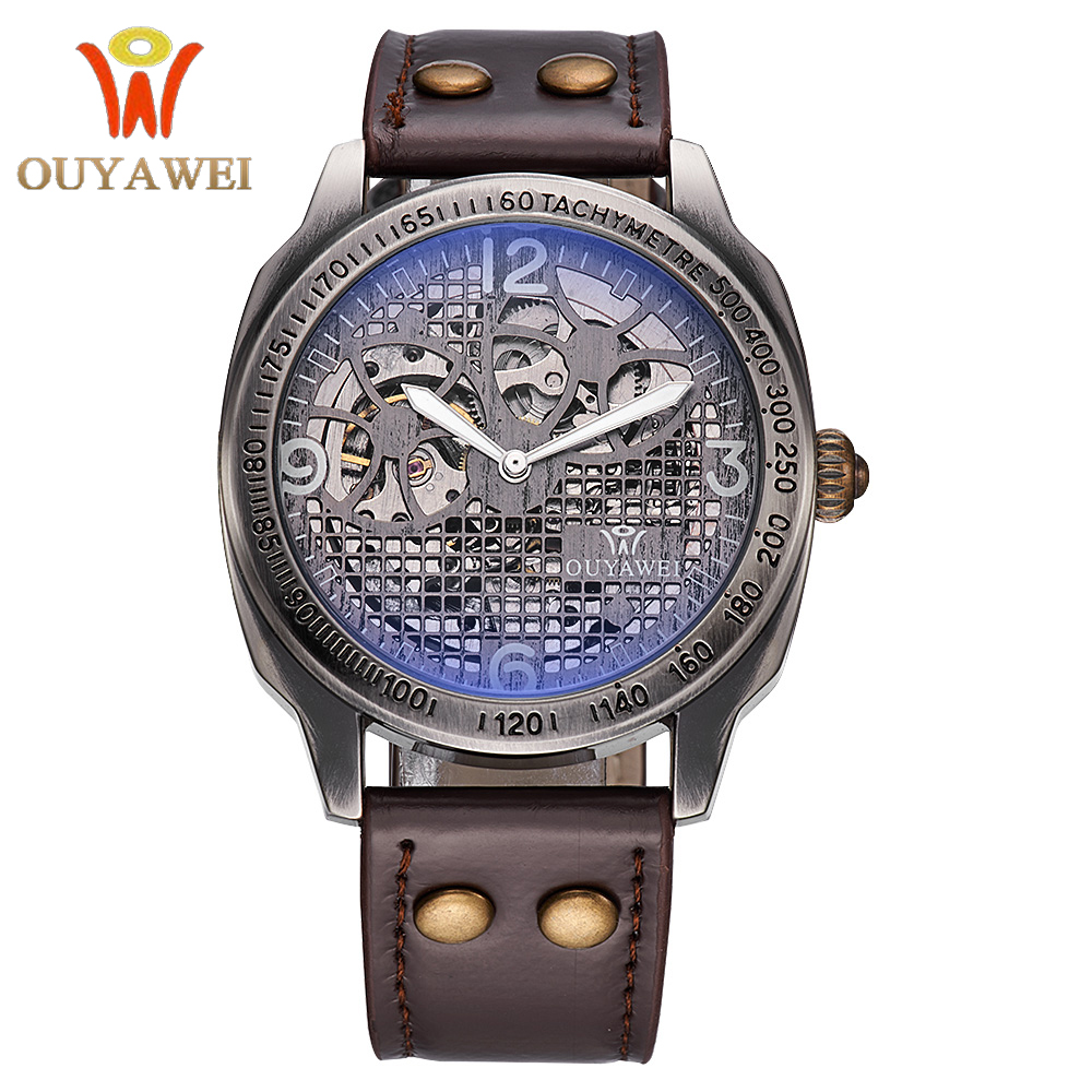 OUYAWEI Male Clock Vintage Bronze Case Brown Leather Band Erkek Kol Satti Skeleton Automatic Mechanical Mens Wrist WatchOUYAWEI Male Clock Vintage Bronze Case Brown Leather Band Erkek Kol Satti Skeleton Automatic Mechanical Mens Wrist Watch