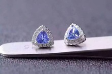 natural blue tanzanite earrings 925 silver Natural gemstone earring women elegant fashion trendy earrings for party