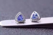 natural blue tanzanite earrings 925 silver Natural gemstone earring women elegant fashion trendy earrings for party