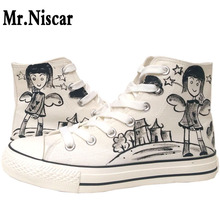 Mr.Niscar White Canvas Shoes Women Cartoon Angel Girl Painted Shoes Breathable Woman Sport Casual Shoes High Top Lace-Up Shoes