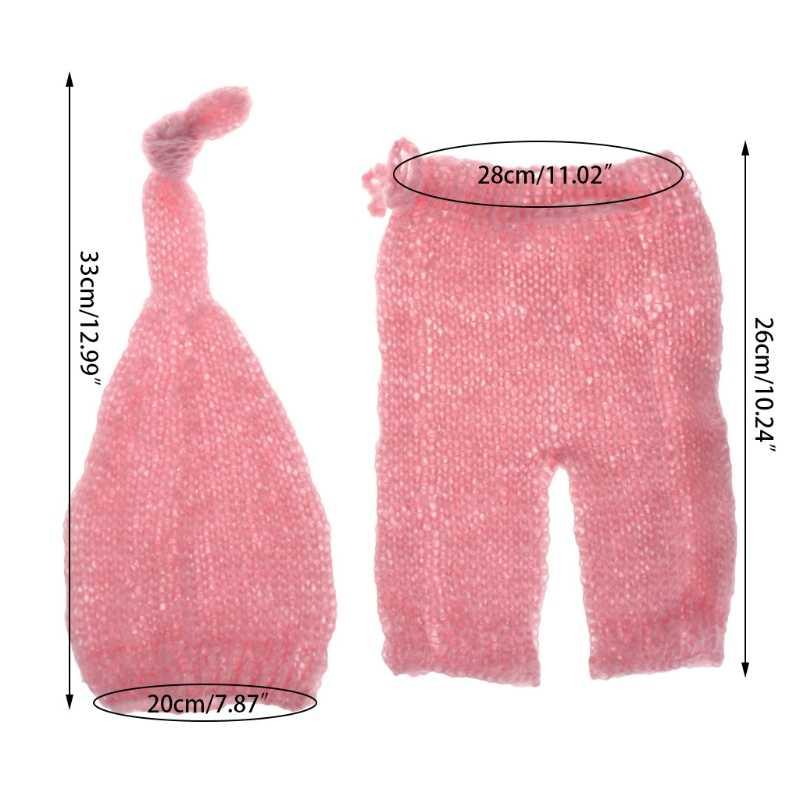 Nouveau-né photographie accessoires Costumes chapeau + pantalon ensemble mignon à la main Mohair bébé tricot ensemble de Costumes FR024