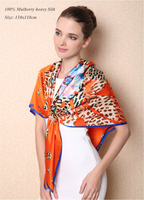 110x110 Big Size Branded Women Check 100 Real Heavy Silk Scarf 2015 Winter Female Famous L