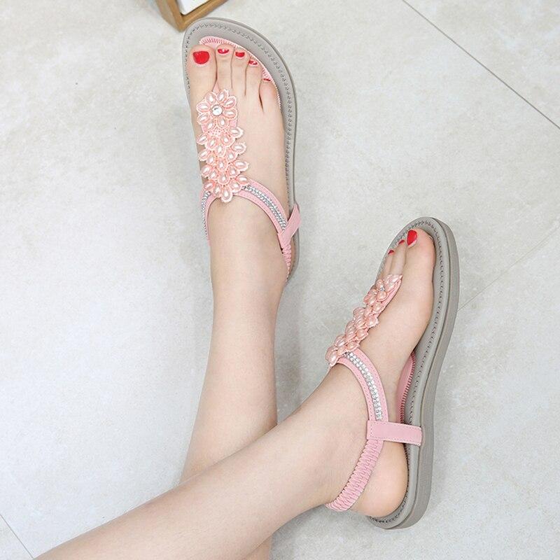 Image 5 - BEYARNES Fashion Women Beach Flip Flops Sandals Beading Ladies Teenslippers Women Summer Shoes breathable Comfortable SandalenWomens Sandals   -