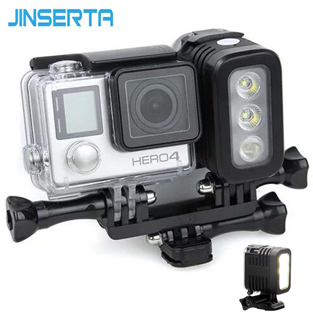 JINSERTA 30M Waterproof LED Flash Fill Light Spot Lamp for SJCAM Xiaomi Yi GoPro HERO5 HERO4 Session SJ4000 Camera Accessories go pro accessories fill light led flash light spot lamp for xiaomi yi gopro hero 5 4 session 3 3 2 sjcam sj6000 sj5000 camera