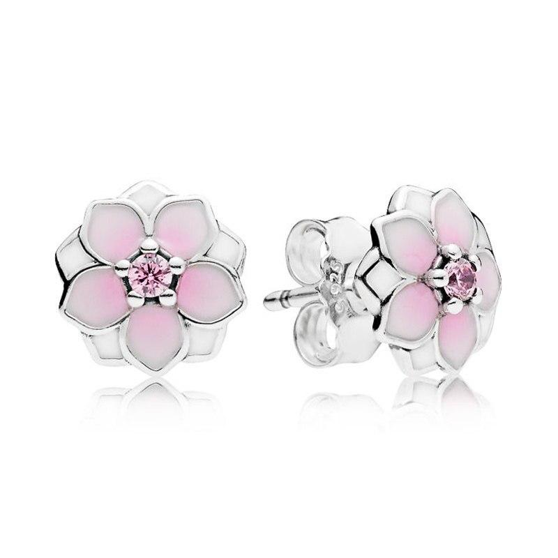 1ec77fdbb New 925 Sterling Silver Earring Enamel Magnolia Bloom With Crystal Studs  Earring For Women Wedding Gift