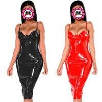 Abbille 6XL Más El Vestido Del Tamaño 2017 de Invierno Sexy PVC Wet Look Vestidos de Las Mujeres de cuero Rojo Negro Longitud de La Rodilla de la Cremallera Negro Vestido Del Club