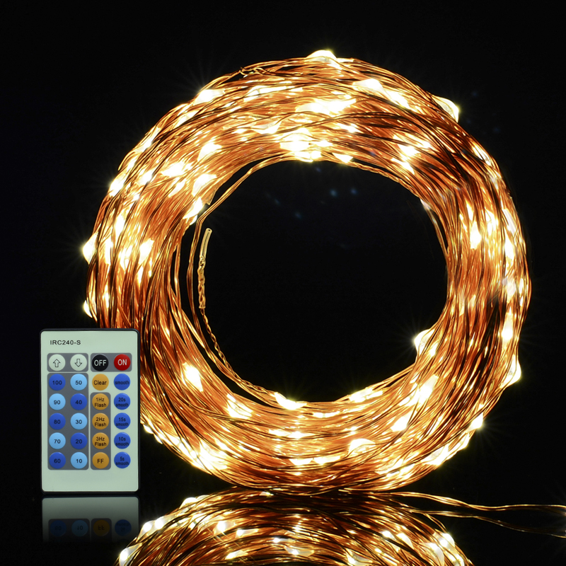 30M IR Remote LED Koppar Wire Novelty Lights String Vattentät - Festlig belysning - Foto 2