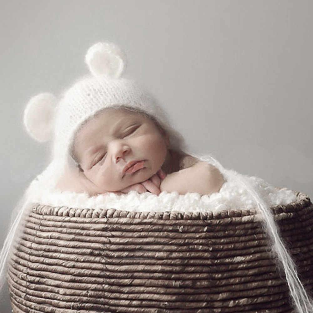 50e1e9046 Cute Baby Knitting Cartoon Bear Ear Hat Newborn Photography Props Hats  Crochet Cotton Baby Props Photo Cap