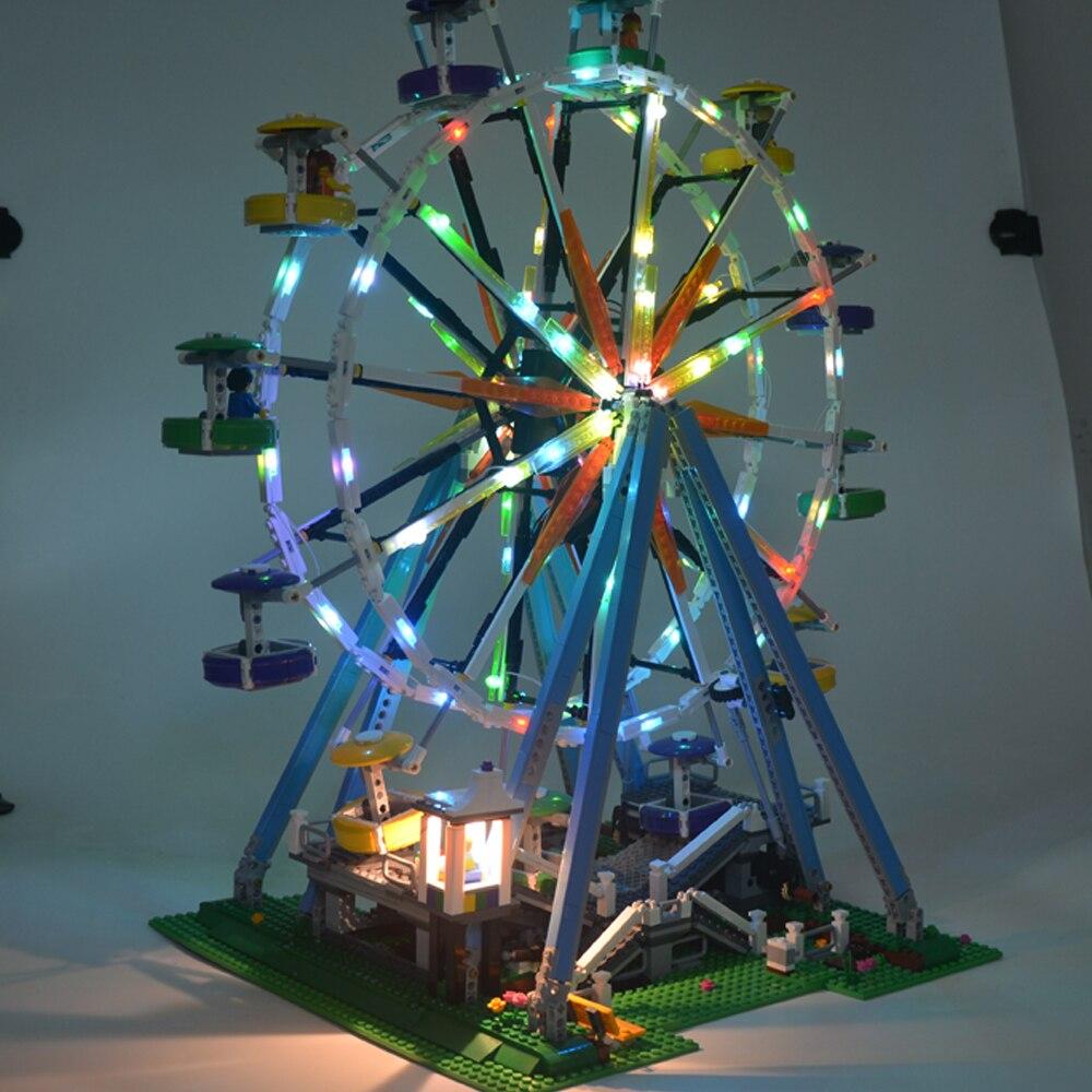 MTELE Brand LED Light Block kit Up For City Street Ferris Wheel Model Building Blocks Compatible with LEGO 10247 led light up kit gor city model building block figures accessories kit toys for children compatible with lepin