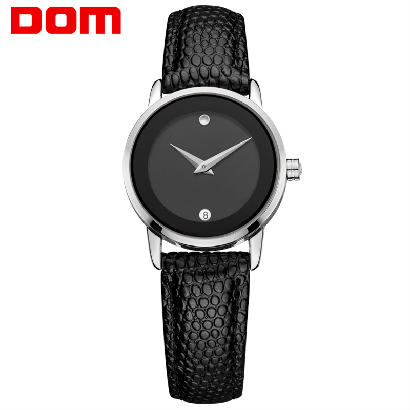 watch women DOM top Luxury women Quartz Analog Clock Leather waterproof Watches hours Complete Calendar relogio feminino GS-1075 dom men watch top luxury men quartz analog clock leather steel strap watches hours complete calendar relogios masculino m 11
