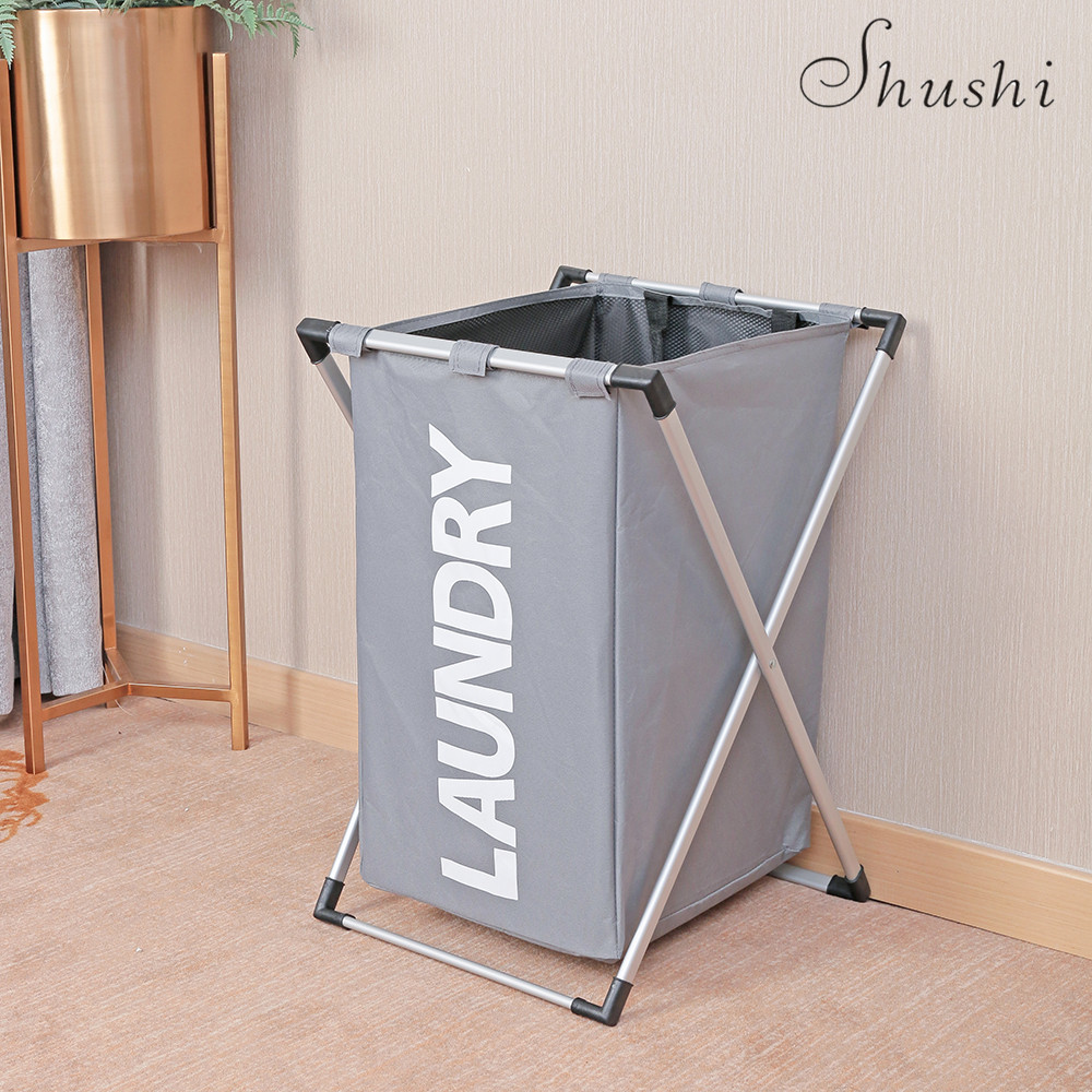 Dirty Laundry Baskets Us 27 49 Shushi X Frame Foldable Laundry Basket Oxford Waterproof Bathroom Dirty Clothes Basket Collapsible High Capacity Laundry Hamper In Storage