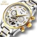 Lujo Hombres Reloj Mecánico Automático Tourbillon Impermeable Skeleton Reloj Hombre Reloj de Pulsera de Acero Lleno de Auto-Viento de oro Con la Caja