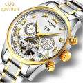 Luxury Watch Men Automatic Mechanical Tourbillon Waterproof Skeleton gold Self-Wind Full Steel Wristwatches Male Reloj With Box