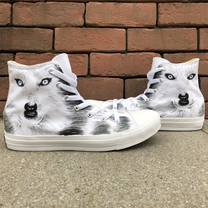 Wen White Hand Painted Animal Shoes Snow Ground Wolf Unisex Design High Top Canvas Flats Sneakers for Boys Girls Gifts wen original high top sneakers steam punk hand painted unisex canvas shoes design custom boys girls athletic shoes gifts