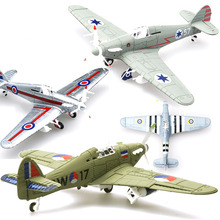 6Pcs Different Color 1/48 Assemble Simulation Fighter Model Toys Building Tool Sets Aircraft Diecast War II Hurricane Fighter