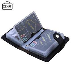 Moda couro do plutônio 24 bits id titular do cartão multifunction caso de cartão de banco de negócios das mulheres dos homens passaporte de crédito rfid bolsa carteira