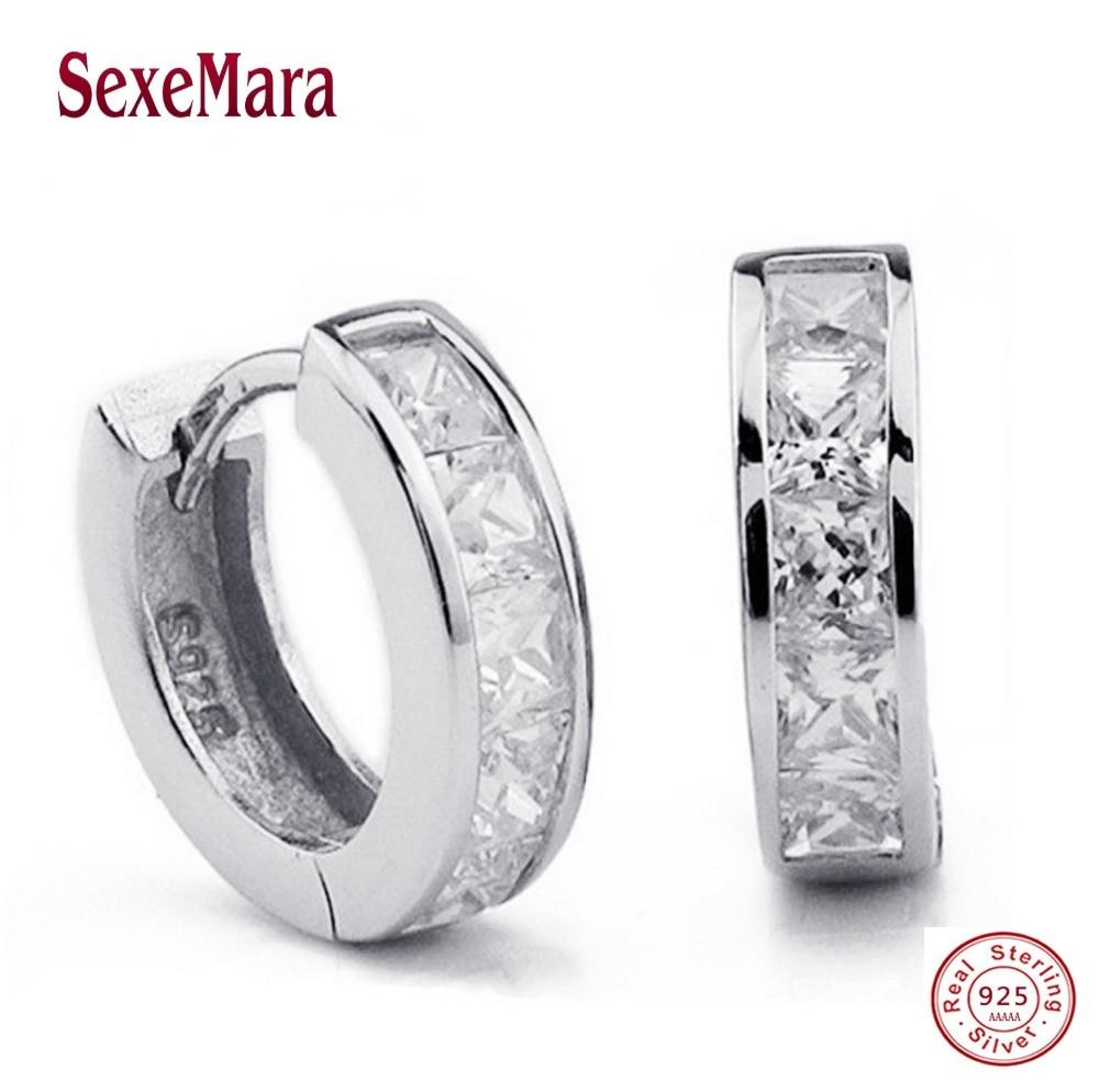 Simple Women Men Silver 925 Sterling Silver Studs Earrings Switzerland Block CZ Zircon crystal Jewelry Wholesale Brincos Pequeno