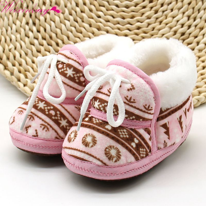 WEIXINBUY Cotton Padded Infant Baby Boys Girls Soft Boots Cute Baby Shoes Spring Warm Soft Baby Retro Printing Shoes6-12M