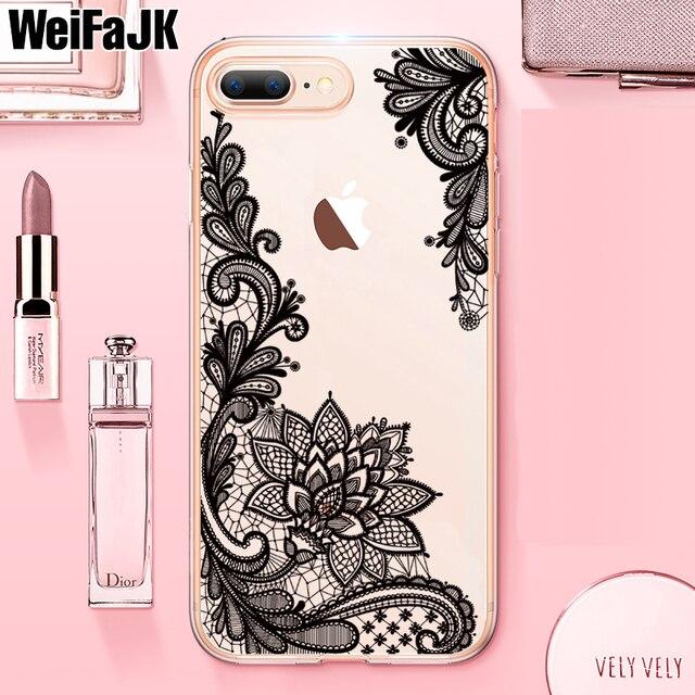 finest selection 88d69 e401d US $1.27 11% OFF|WeiFaJK Luxury Lace Flower Patterned Case For iPhone 6 6s  7 7 Plus 8 8 Plus Soft Silicone Cases For iPhone 8 7 6 6s Plus X Case-in ...