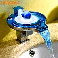 Светодиодный датчик температуры кран бассейна Водопад Ванная комната краны Термостатический цвет на бортике смеситель отделка серебро