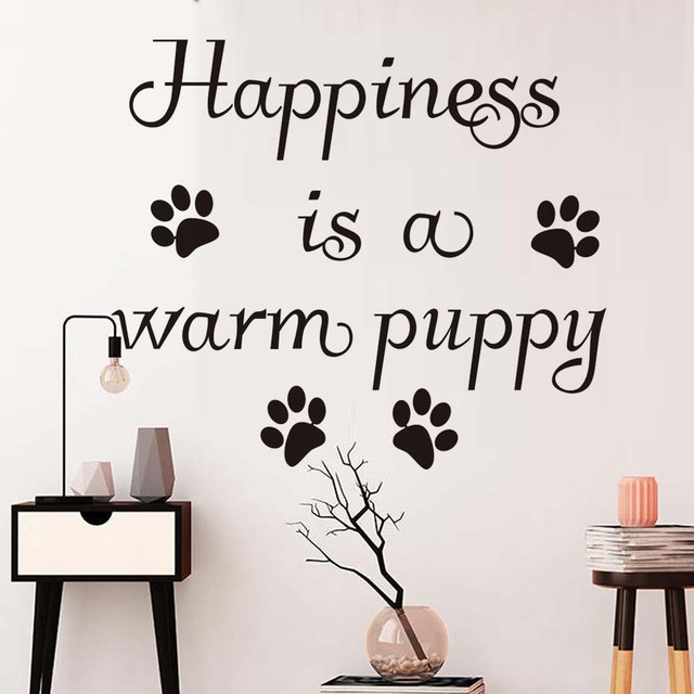 Happiness is a warm puppy wall sticker removable vinyl dog paw print wall decals self adhesive