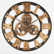 Ручной работы негабаритных 3D ретро деревенский декоративный роскошный художественный большой механизм деревянные винтажные большие настенные часы на стену для подарка 20 дюймов