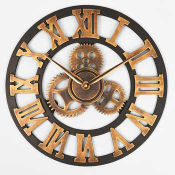 Handmade Oversized 3D retro rustic decorative luxury art big gear wooden vintage large wall clock on the wall for gift 20 inche - DISCOUNT ITEM  3 OFF Home & Garden