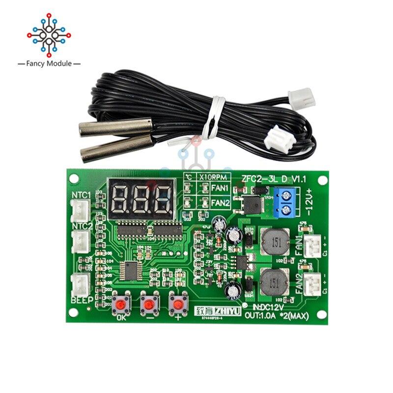 Dc 12 v duplo 3-wire fan led inteligente digital temperatura termostato regulador de velocidade controlador interruptor módulo controle do sensor ntc