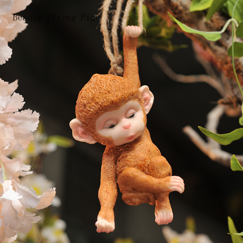 Outdoor garden courtyard small monkey tree decoration pendant gardening landscape hanging jewelry creative cute living room home(China)