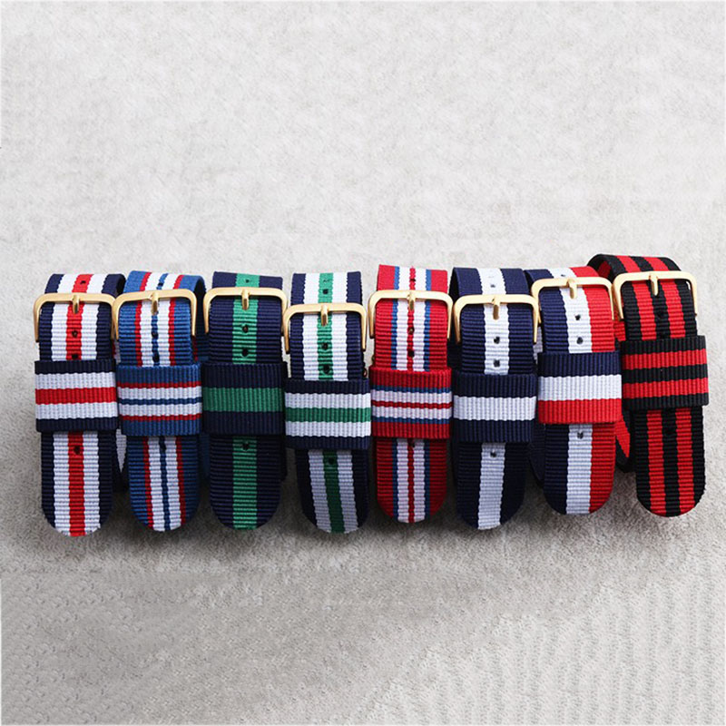 1PCS High quality 18MM 20MM nato strap Rose gold buckle nato straps Watch band watch strap 20 colors Choose strap on for hours nato strap new high end 5color watchband 20mm 18mm watch straps 2018 fashion bamboo pattern clock ladies band top selling a013