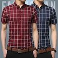 Summer 2016 fashion brand men's slim healthy men cotton short sleeve shirt grid social leisure shirt + 5 xl size