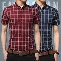 Verão 2016 da marca de moda men slim homens camisa de algodão de manga curta grade lazer camisa social saudável + 5 xl tamanho