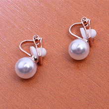 2018 New Red Imitation Pearl earrings fashion jewelry female exquisite elegant white imitated pearl Ear clip gift wedding party