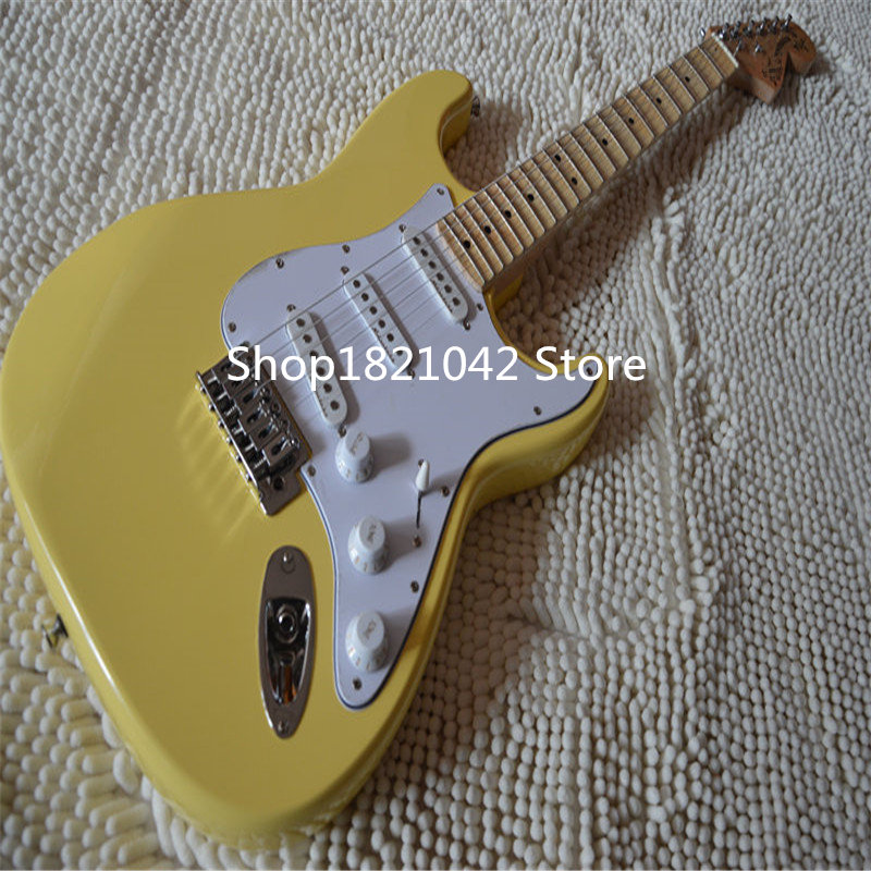 Usine magasin! Touche festonnée, micros Dmarzio, guitare Yngwe Malmsten crème jaune Vintage, guitare électrique grande tête