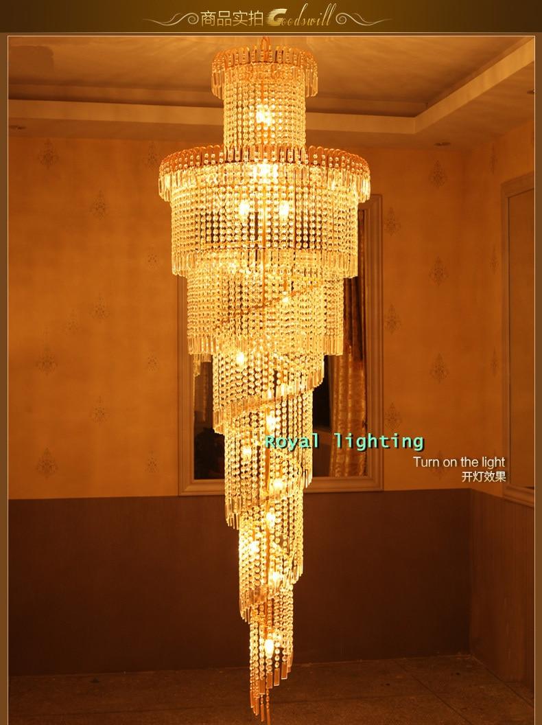 Big Stairway Chandelier Long Crystal Led Lights Creative